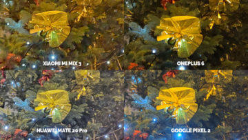 Noční režim Xiaomi Google Huawei OnePlus vanocni stromek detail