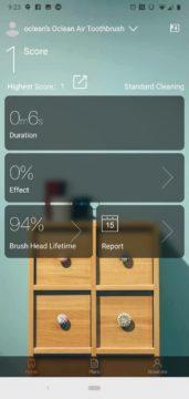 Oclean aplikace domovska obrazovka