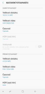 Samsung Galaxy A9 aplikace fotoaparatu nastaveni