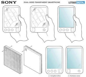 sony patent telefon s pruhlednym displejem