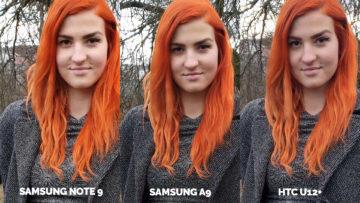 Srovnání fotoaparátů Samsung Galaxy A9 vs Samsung Galaxy Note 9 vs HTC U12+ modelka detail