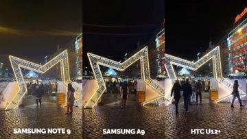 Srovnání fotoaparátů Samsung Galaxy A9 vs Samsung Galaxy Note 9 vs HTC U12+ nocni ulice