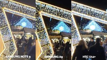 Srovnání fotoaparátů Samsung Galaxy A9 vs Samsung Galaxy Note 9 vs HTC U12+ nocni ulice detail