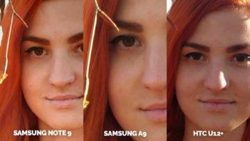 Srovnání fotoaparátů Samsung Galaxy A9 vs Samsung Galaxy Note 9 vs HTC U12+ portret detail
