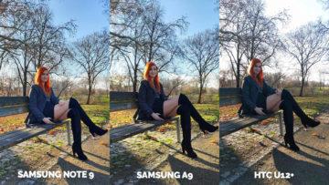 Srovnání fotoaparátů Samsung Galaxy A9 vs Samsung Galaxy Note 9 vs HTC U12+ protisvetlo modelka