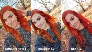 Srovnání fotoaparátů Samsung Galaxy A9 vs Samsung Galaxy Note 9 vs HTC U12+ selfie