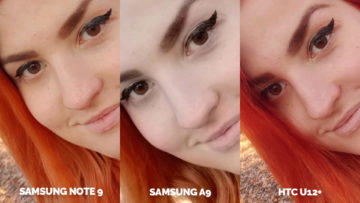 Srovnání fotoaparátů Samsung Galaxy A9 vs Samsung Galaxy Note 9 vs HTC U12+ selfie detail