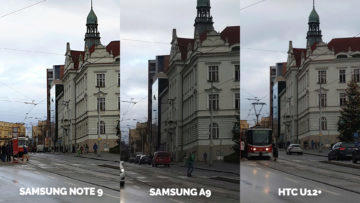 Srovnání fotoaparátů Samsung Galaxy A9 vs Samsung Galaxy Note 9 vs HTC U12+ ulice detail