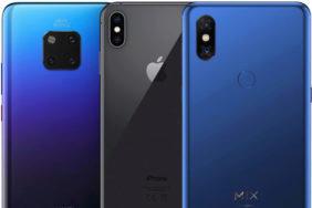 Srovnání Xiaomi Mi Mix 3 vs Apple iPhone XS Max vs Huawei Mate 20 Pro