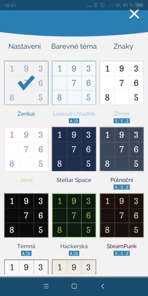 Sudoku Zenkai - barevná schémata