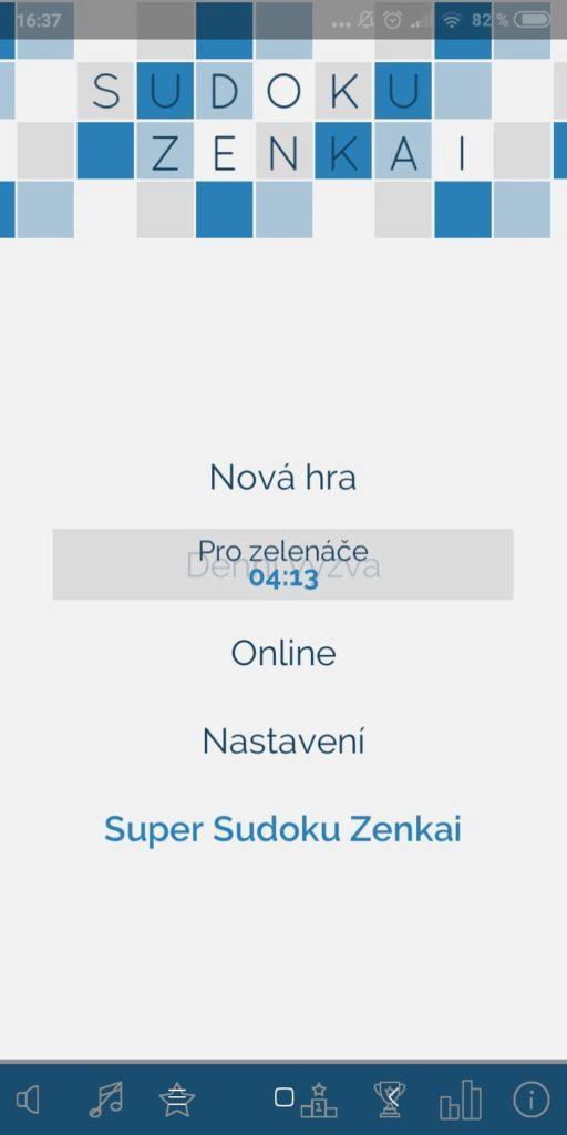 Sudoku Zenkai - menu