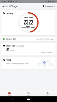 Xiaomi Amazfit aplikace hlavní obrazovka