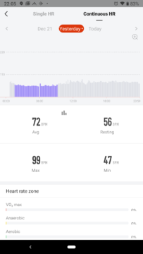 Xiaomi Amazfit aplikace mereni tepu