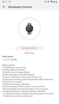 aktualizace chytrych hodinek huawei watch gt