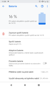 baterie android 9 pie