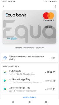 Equa bank Google pay domovska obrazovka