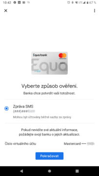 Equa bank Google pay overeni sms