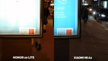 fototest Xiaomi Mi A2 vs Honor 10 Lite nocni fotografie ulice detail
