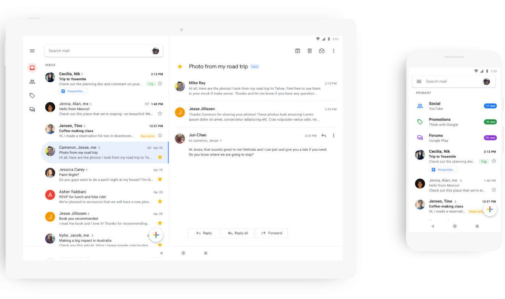 google gmail aplikace android telefon tablet