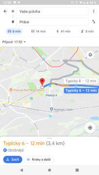 Google mapy informace o jizde