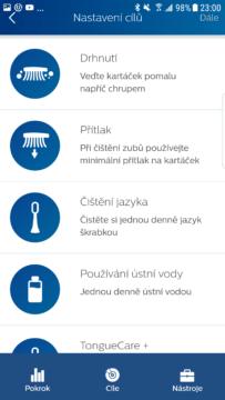 Philips Sonicare aplikace nastaveni cilu