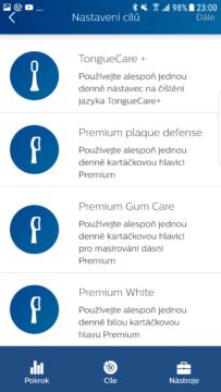 Philips Sonicare aplikace rezimy