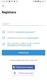 Registrace do aplikace