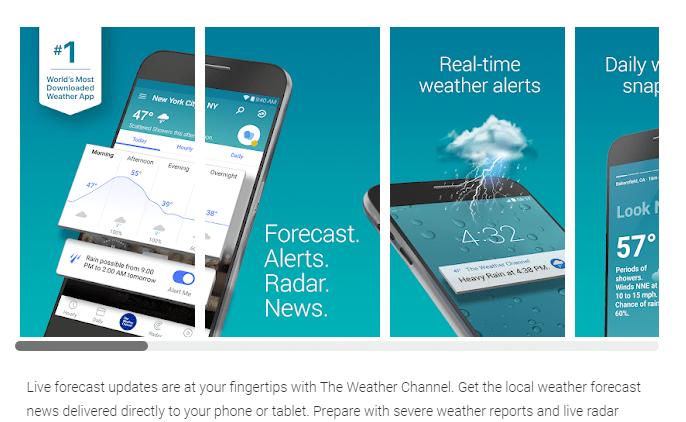 Takto se Weather Channel nabízí v Obchodě Play