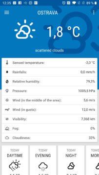 Úvodní obrazovka Weather ICM