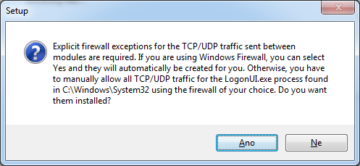 Výjimky na firewallu