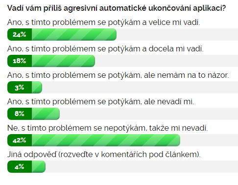 Výsledky ankety na téma Vadí vám příliš agresivní automatické ukončování aplikací?