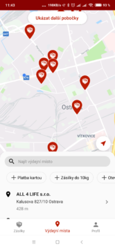 Zobrazení poboček v mapě