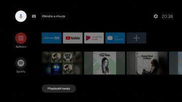 Android TV sledovani TV set top box domovska obrazovka