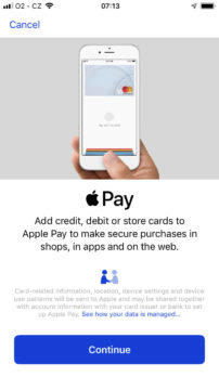 Apple Pay ceska republika pridani platebni karty