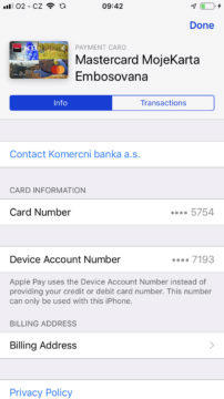 Apple Pay Cesko informace karta