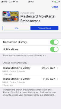 Apple Pay iphone informace o transakci