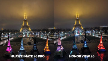 Fototest Honor View 20 vs Huawei Mate 20 Pro noc eiffelova vez