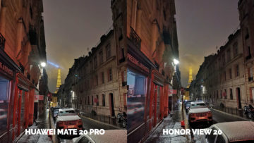 Fototest Honor View 20 vs Huawei Mate 20 Pro nocni ulice pariz