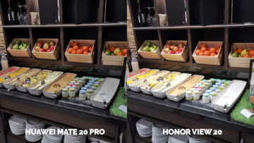 Fototest Honor View 20 vs Huawei Mate 20 Pro svedsky stul jidlo