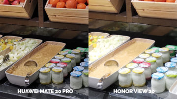 Fototest Honor View 20 vs Huawei Mate 20 Pro svedsky stul jidlo detail