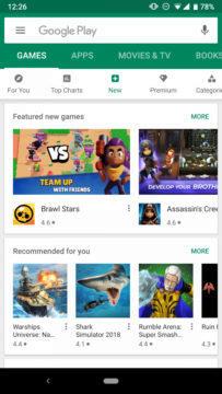 Google Play obchod nove sekce