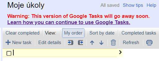 google tasks webova verze konec