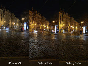 Noční fotografie Samsung Galaxy S10 vs Apple iPhone XS křižovatka