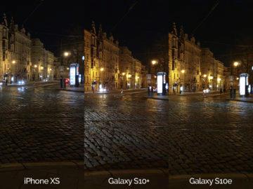 Noční fotografie Samsung Galaxy S10 vs Apple iPhone XS křižovatka