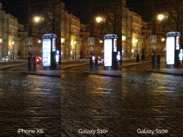 Noční fotografie Samsung Galaxy S10 vs Apple iPhone XS křižovatka detail