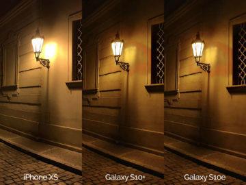Noční fotografie Samsung Galaxy S10 vs Apple iPhone XS lampa