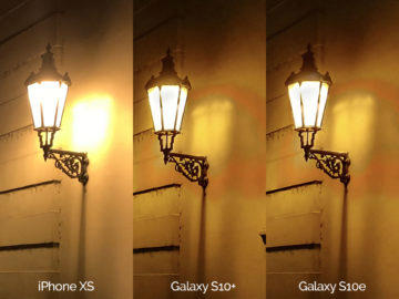 Noční fotografie Samsung Galaxy S10 vs Apple iPhone XS lampa detail