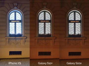 Noční fotografie Samsung Galaxy S10 vs Apple iPhone XS okno