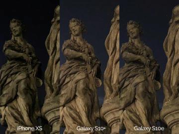 Noční fotografie Samsung Galaxy S10 vs Apple iPhone XS socha detail