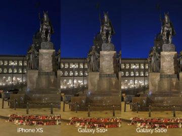 Noční fotografie Samsung Galaxy S10 vs Apple iPhone XS svaty vaclav